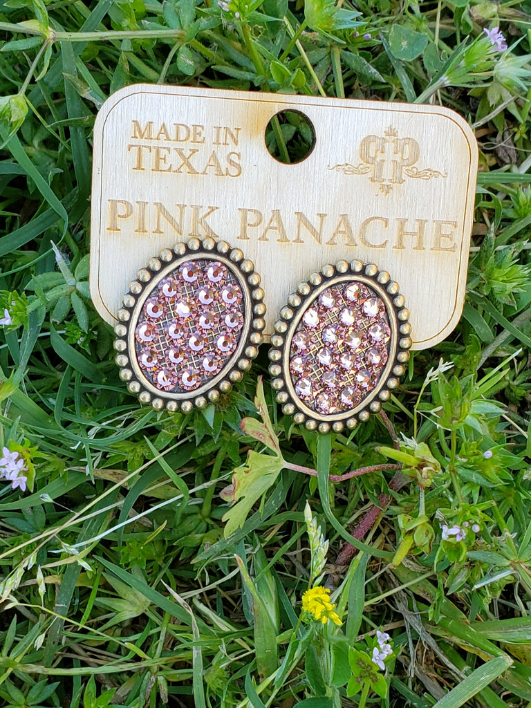 Rose gold oval Pink Panache studs