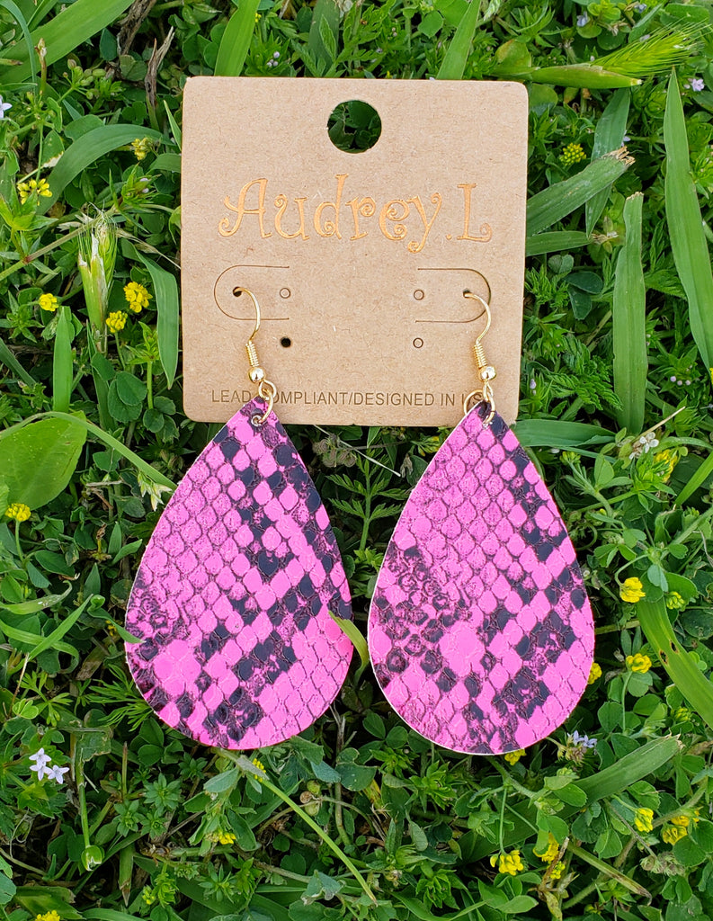 Neon pink python print tear drop earrings