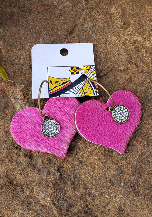 Hot pink hair on hide heart embellished earrings