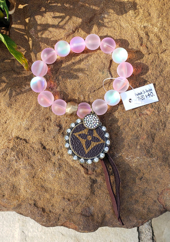 Chunky blush iridescent beaded LV charm bracelet
