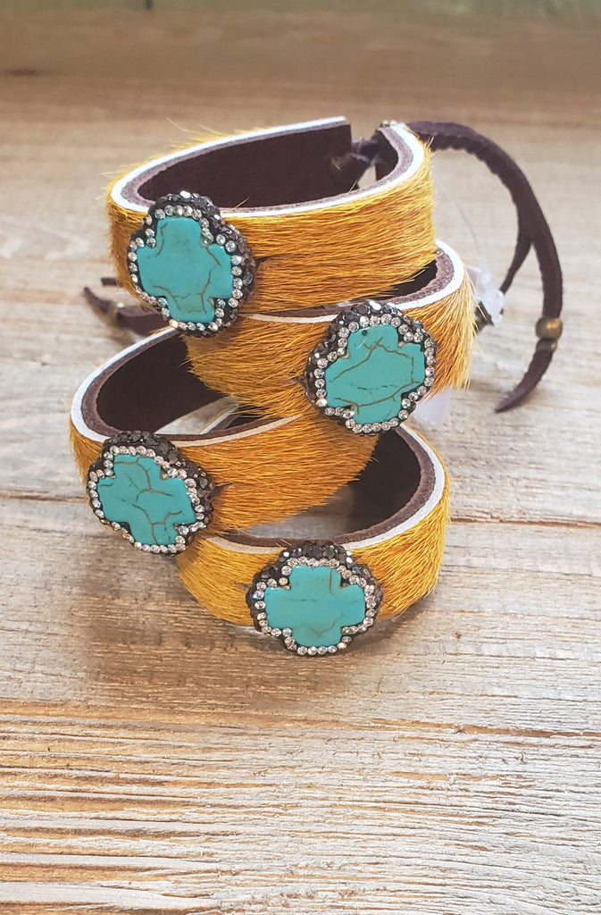 Mustard hide pave stone leather cuff