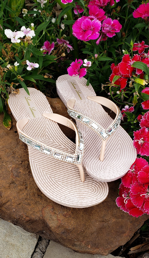 Nude crystal rhinestone shimmer sandals