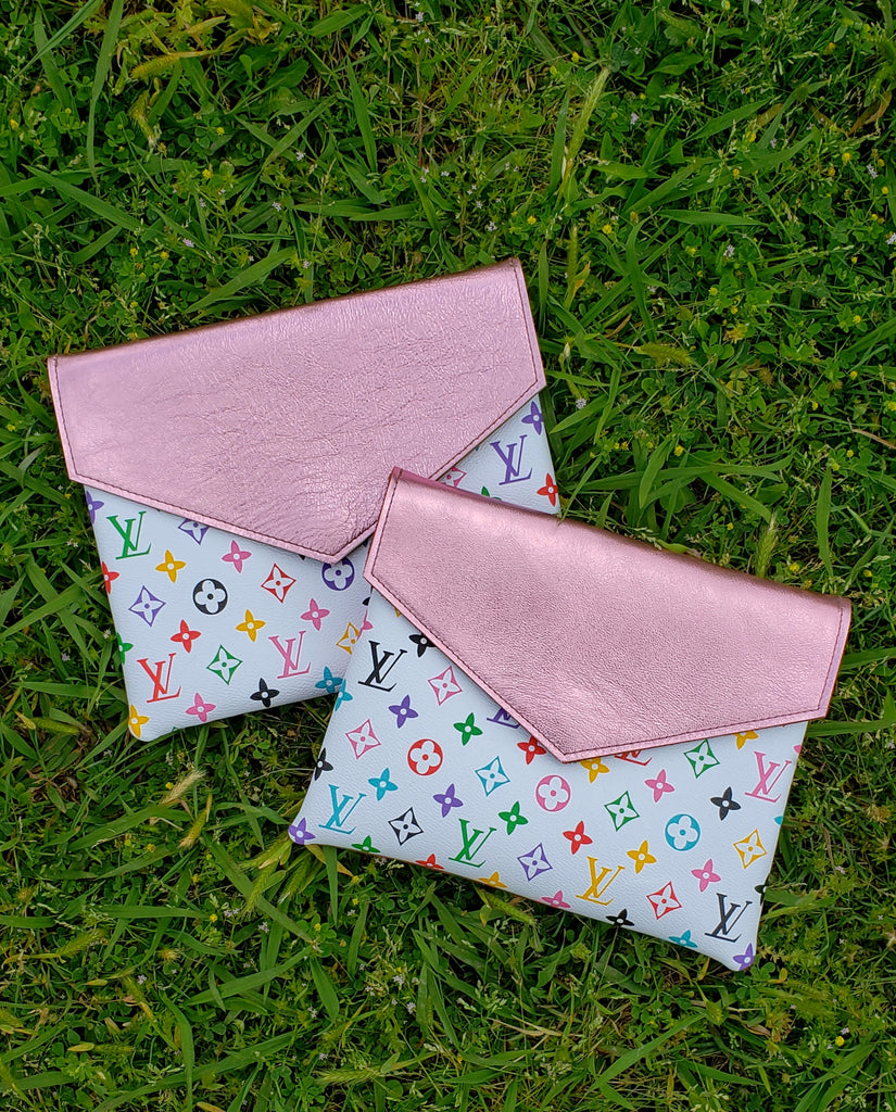 Simply Chic Metallic pink white multi leather crossbody