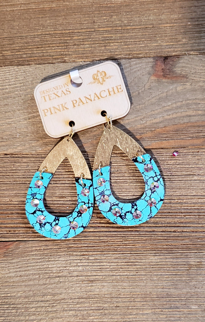 Pink Panache Turquoise & Gold  AB Earrings