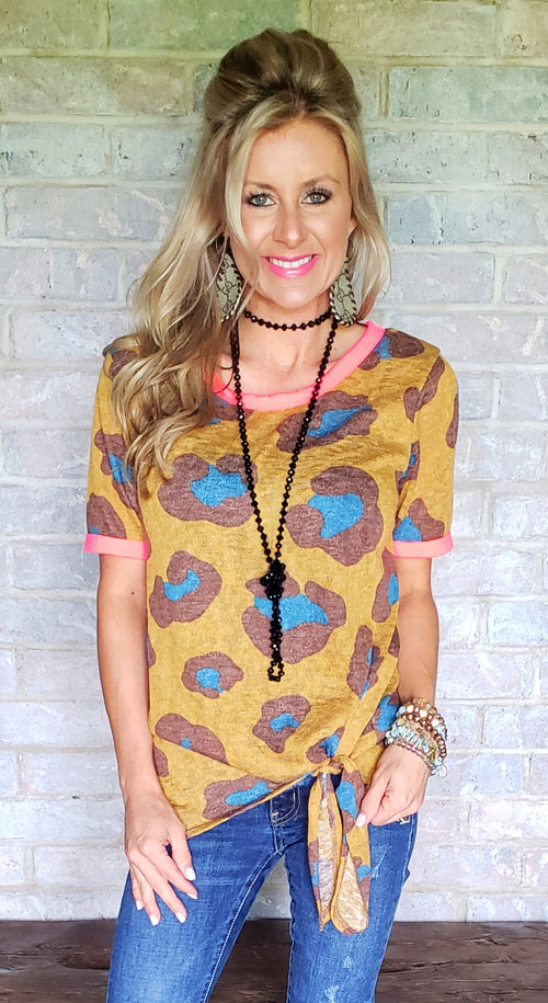 Mustard & neon pink leopard knotted top