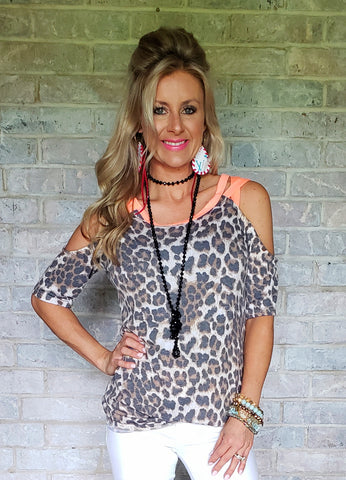 Blush & Blue Leopard Print Open Back Top