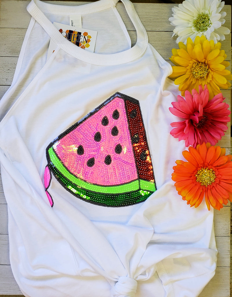 Summer time sequin Watermelon Tank