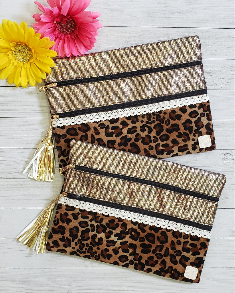 Leopard Metallic Make Up Clutch