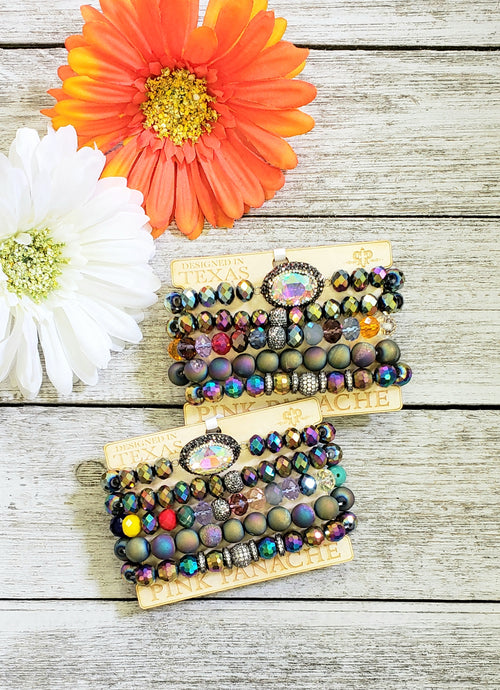 Mermaid AB Stone Druzy Bead Bracelet Set