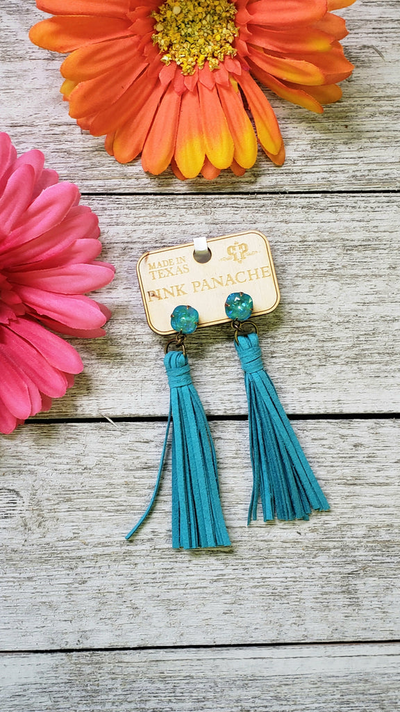 Pink Panache Turquoise Crystal Tassel Earrings