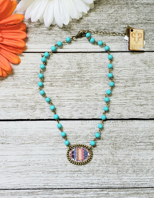 Pink Panache Turquoise Beaded Aztec Necklace