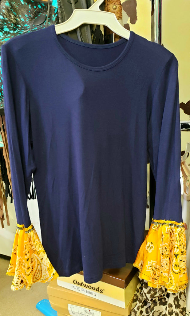 Navy & yellow bandanna flare sleeve blouse