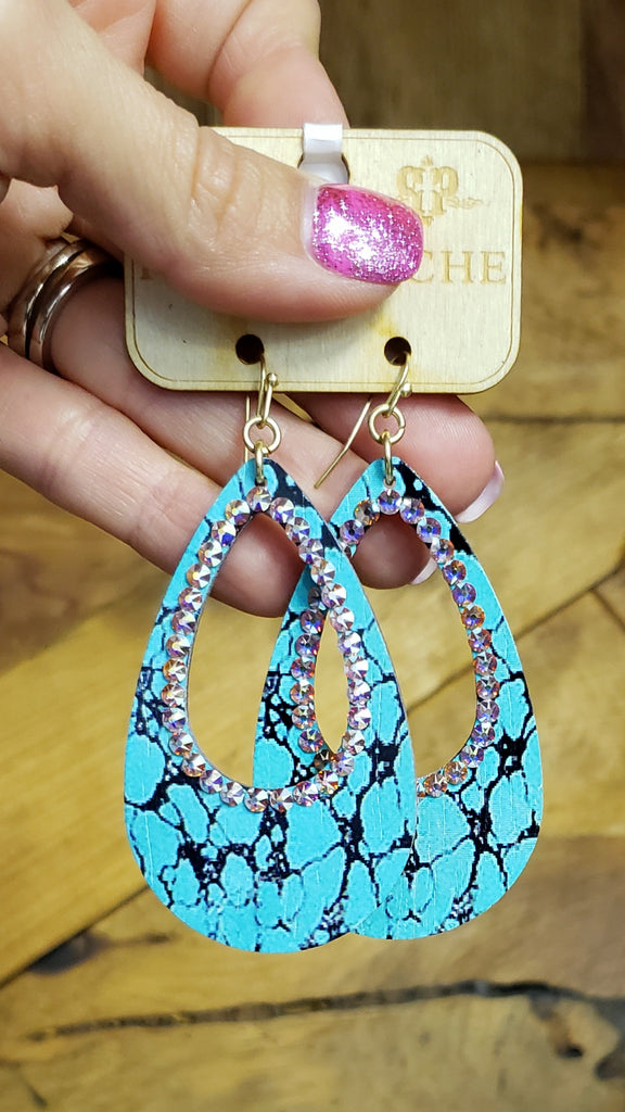 Turquoise crackle city girl AB earrings by Pink Panache