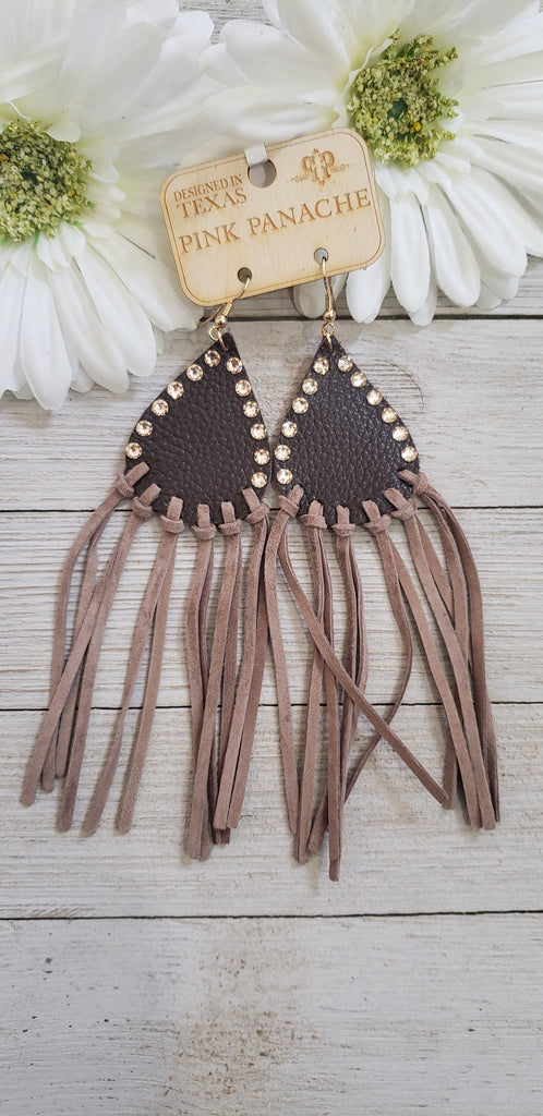 Chocolate Brown crystal leather fringe Pink Panache earrings