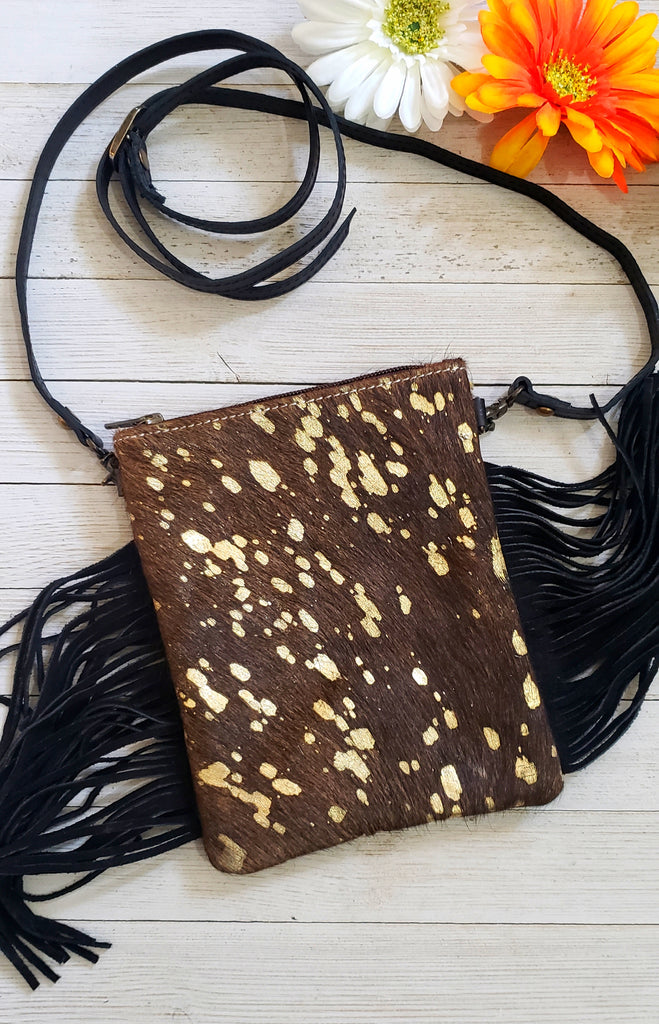 Chocolate & gold hide fringe mini cross body