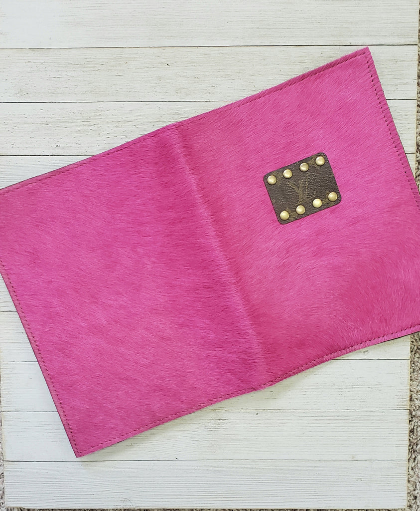 Hot pink hair on hide & leather journal holder