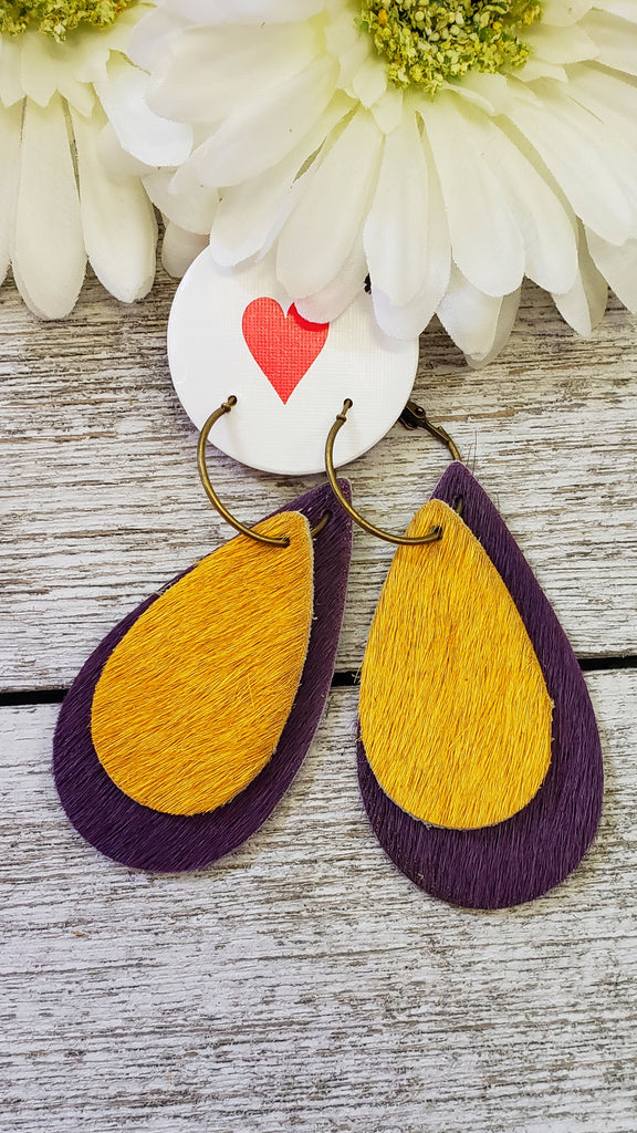 Purple yellow hide tear drop earrings