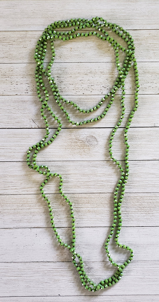 Fall Forest Skinny green shimmer beaded necklace