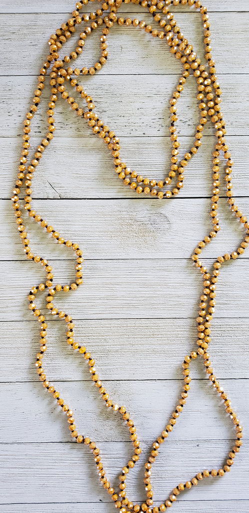 Falling for Mustard shimmer skinny beaded necklace