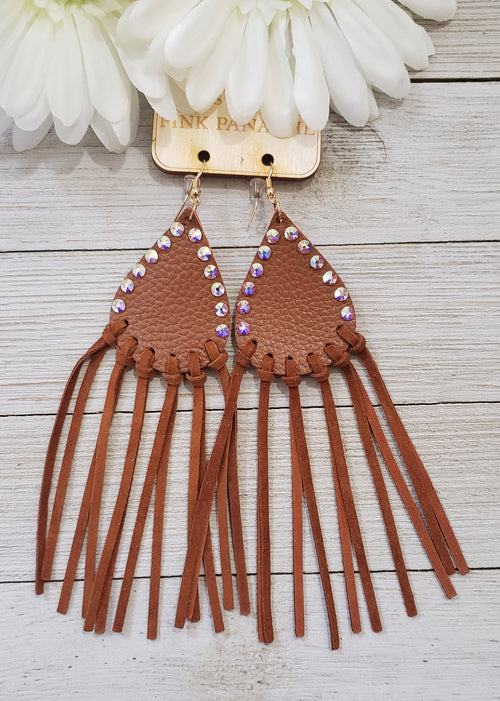Cowgirl brown fringe leather & AB crystal earrings by Pink Panache