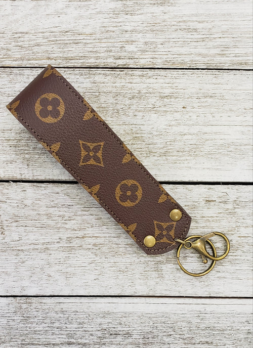 Brown LV large key fob