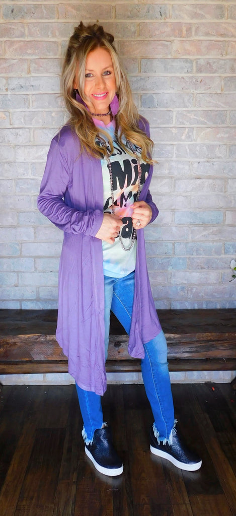 Drapey light weight cardigan ~ Lilac Grey