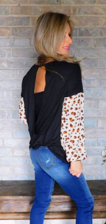 Spice it up Black & Rust Cheetah sleeve open blouse