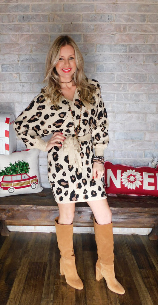 Leopard cozy feels sweater dress