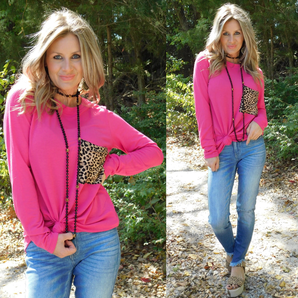 Hot Pink Comfy Casual Leopard Pocket Long Sleeve