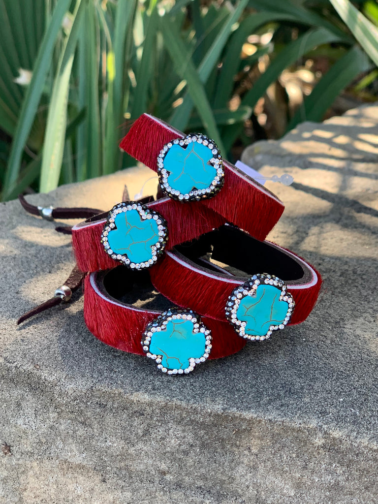 Red hair on hide & turquoise pave mini cinch cuff
