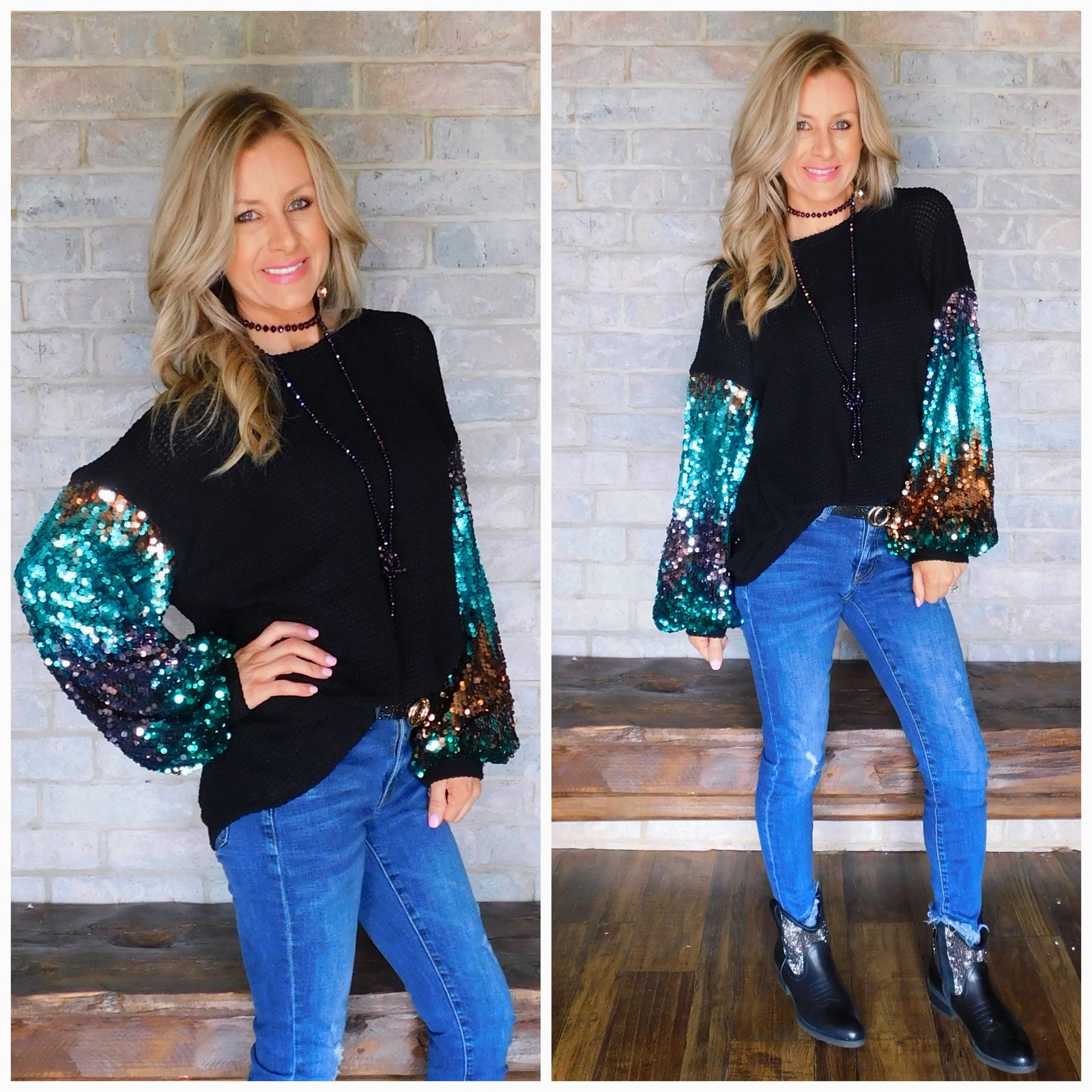 Black Vegas Nights Waffle knit sequin blouse