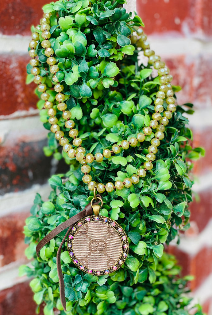 Fall Chic Green Shimmer Bead Upcycled Necklace