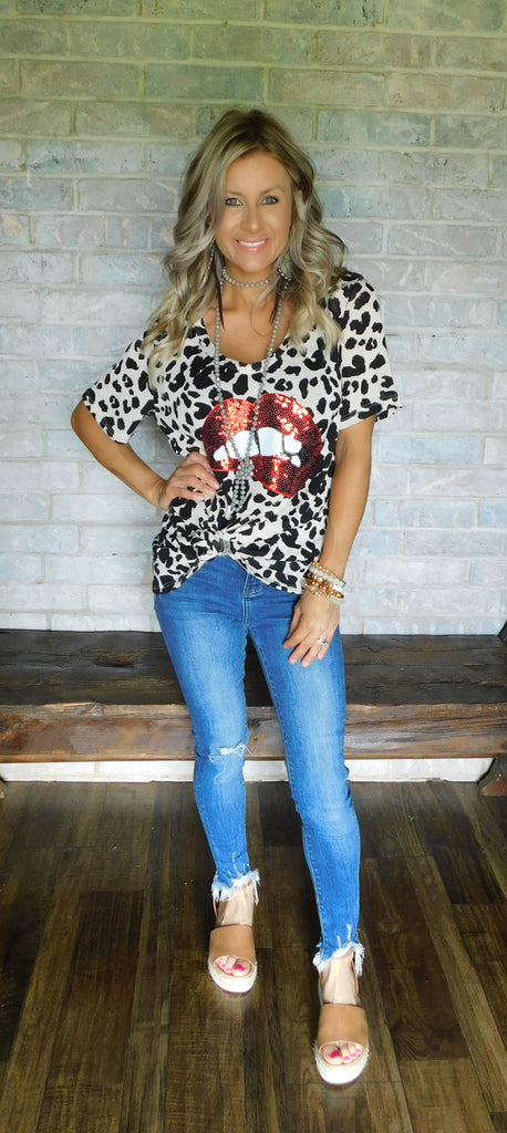 Taupe Leopard Sequin Lips Top