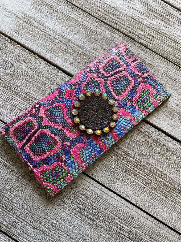 Neon Pink AB up cycled Embellished Checkbook Wallet