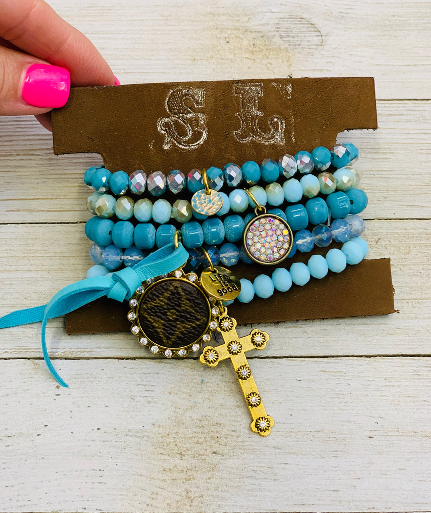 Turquoise Shimmer Beaded Upcycled Embellished Bracelet Stack