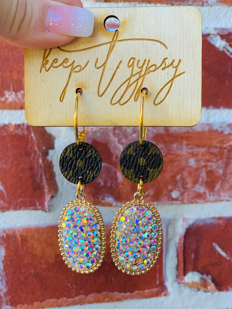 Golden AB Crystal Upcycled Embellished Earrings