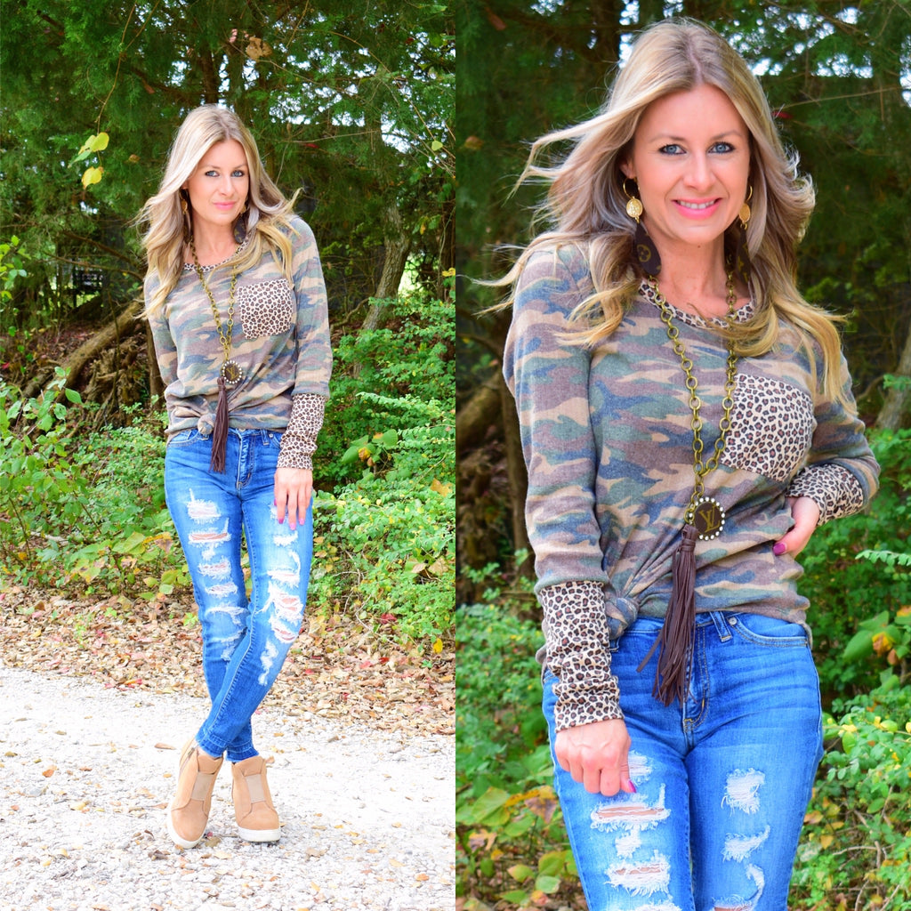 Camo Speckled Cheetah Pocket Longsleeve Top