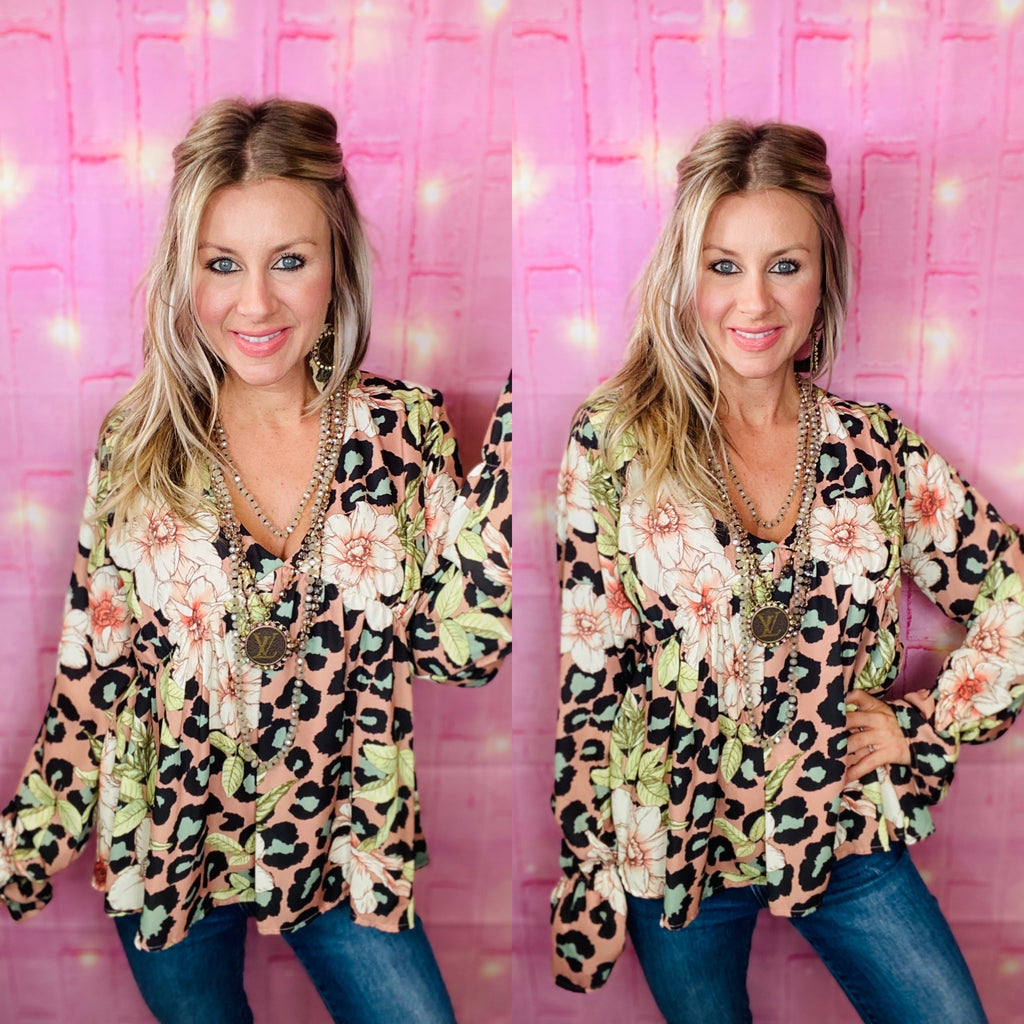 Simply chic floral leopard blouse by Peach Love