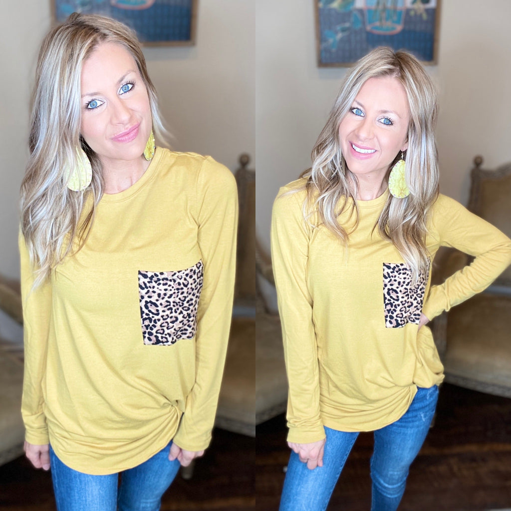Comfy Casual Mustard Leopard Pocket Long sleeve