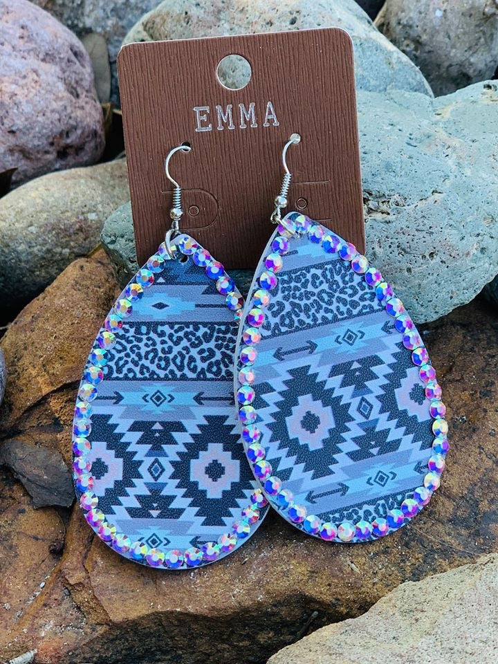 Lilac Aztec Earrings with AB Crystals