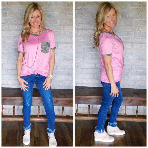 Pink Causal Top w/ Camo Pocket