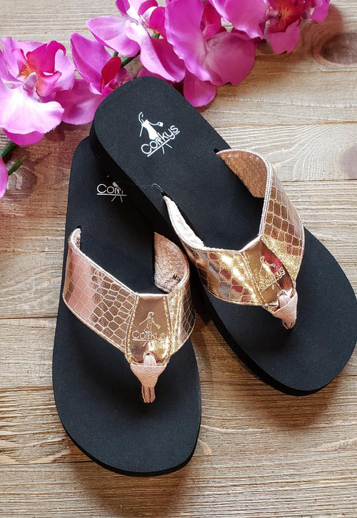 Rose gold corkys sandals