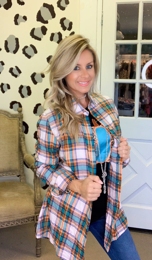 At the pumpkin patch turquoise sequin plaid blouse