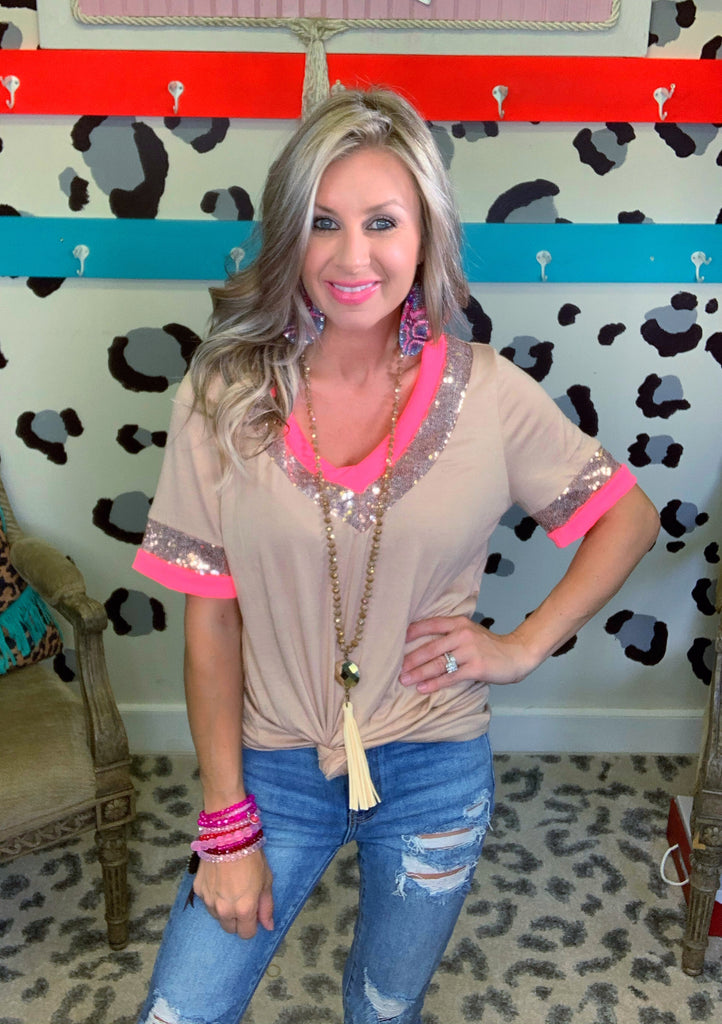 Taupe Simple and Sweet Pink Sequin V-neck Blouse