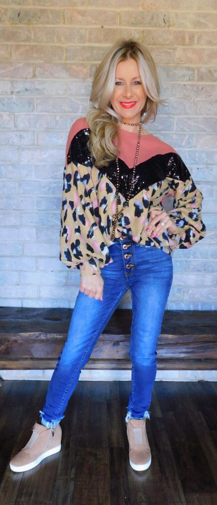 Marsala & Tan Leopard & Sequins Blouse