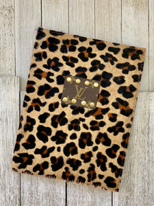 Leopard hair on hide & leather  LV journal holder