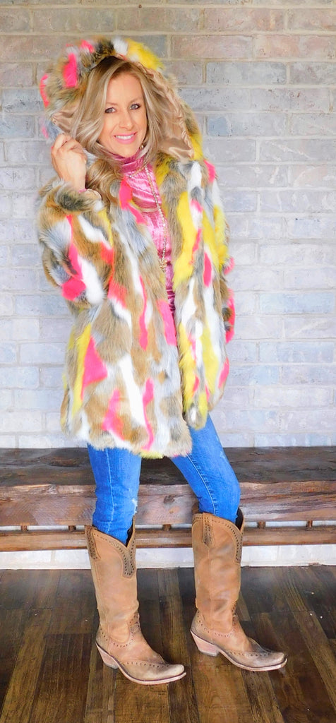 She's wild from the inside & out foxy fur coat