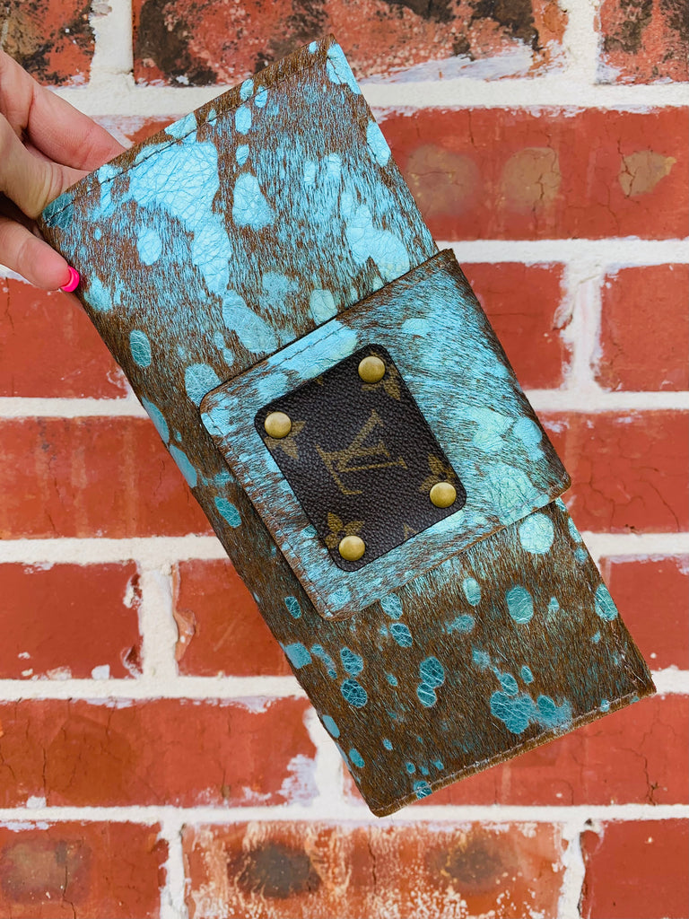 Blue Acid Wash Upcycled Clutch Wallet