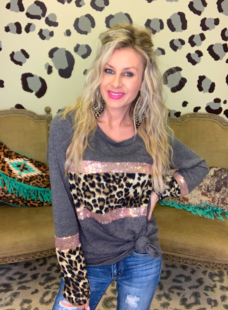 Charcoal leopard & rose gold sequin sweater knit blouse