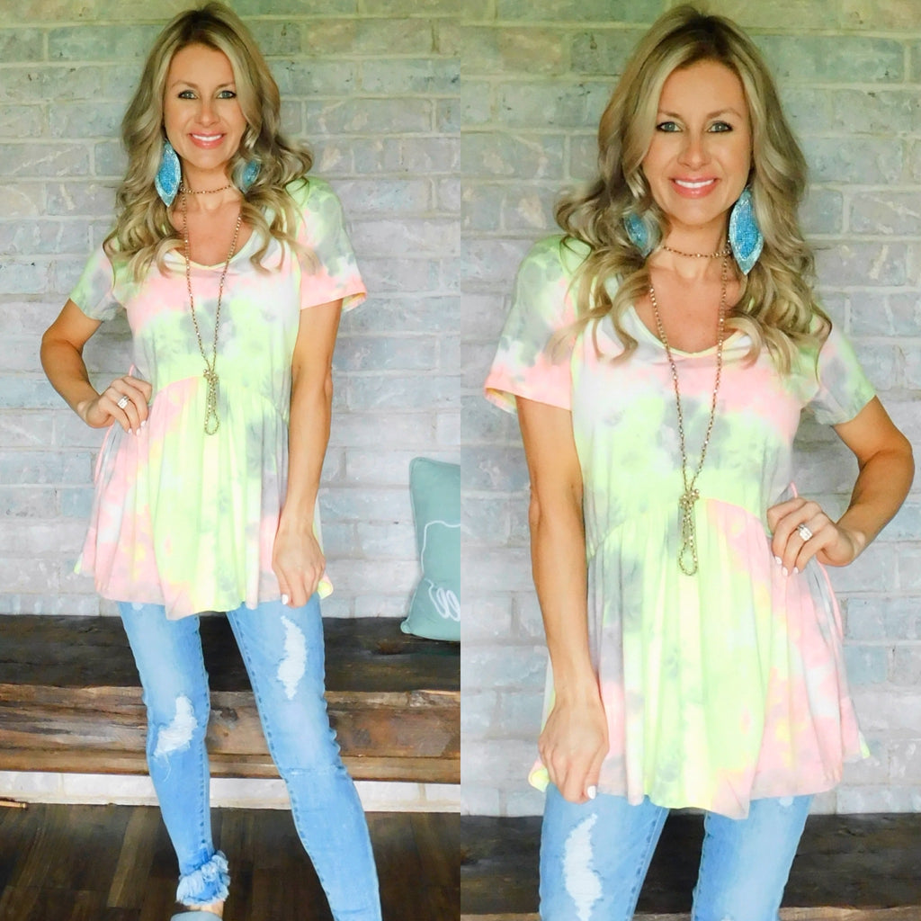 Neon Vibes Tie Dye Baby Doll blouse